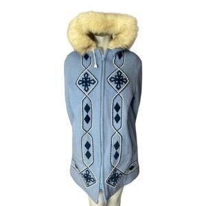 Vintage Kelsey Trail Virgin Wool Snowflake Applique Winter Coat with Fur Trim 16